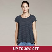 Buy Striped Double Layer T-Shirt - Midnight from The White Company