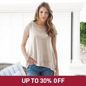Buy Striped Double Layer T-Shirt - Ash Rose from The White Company