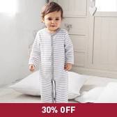 Buy Baby Stripe Terry Sleepsuit from The White Company