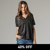 Oversized Scattered Sequin T-Shirt - Iron