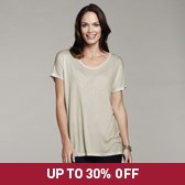 Buy Oversized Scoop Neck T-Shirt - Mist Green Marl from The White Company