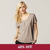 Pleat Neck T-Shirt - Stone