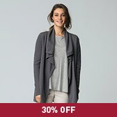 Rib Sleeve Drape Cardigan - Eclipse Grey