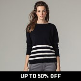 Stripe Button Back Jumper - Navy