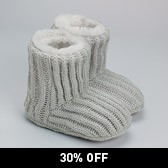 Knitted Slipper Boots - Grey Marl