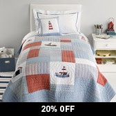 Buy Sailboat Quilt from The White Company
