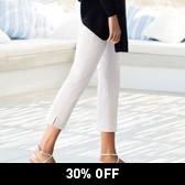 Buy Slim Capri Pants - White from The White Company