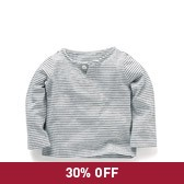 Buy Baby Boy Striped Henley Long Sleeve T-Shirt from The White Company