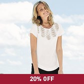 Buy Scallop Lace Insert Top - Winter White from The White Company