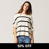 Stripe Poncho Jumper - Natural