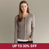 Buy Textured Knitted Jacket With Zip - Stone from The White Company