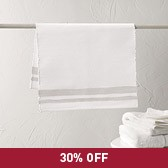 Toulon Stripe Bath Mat - White/Natural