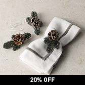 Pine Cone Decorative Tie - Set of 3