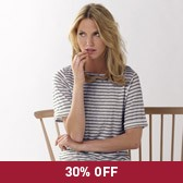 Buy Wide Sleeve Striped Linen Top - White/Grey from The White Company