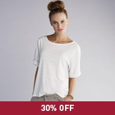 Buy Wide Sleeve Striped Linen Top - Natural from The White Company