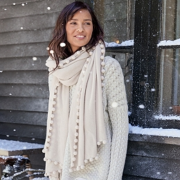 Cashmere Ultimate Pom-Pom Shawl