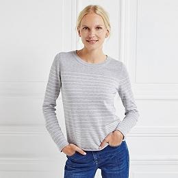 Stripe Roll Edge Sweater - Pale Gray Marl