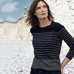 Stripe Roll Edge Sweater - Navy