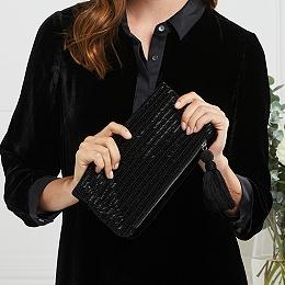 Velvet Beaded Clutch Bag