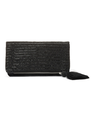 Velvet Beaded Clutch Bag