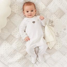 Velour Bear Sleepsuit