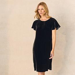 Velvet Swing Dress with Silk