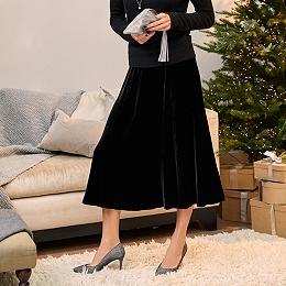 Velvet Midi Skirt with Silk