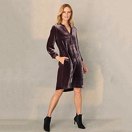 Velvet Shirt Dress with Silk