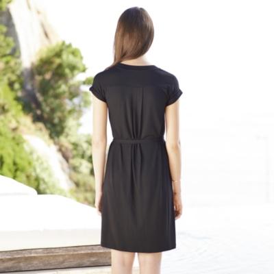 V-Neck Tie Belt Dress