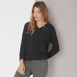 V-Neck Batwing Sweater - Dark Charcoal Marl