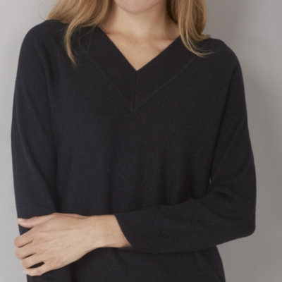 V-Neck Batwing Sweater - Dark Charcoal Marl