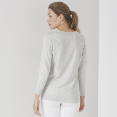 V-Neck Batwing Sweater - Pale Gray Marl