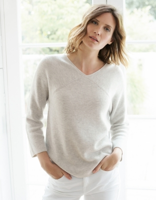 Wool-Cotton Batwing V-Neck Sweater