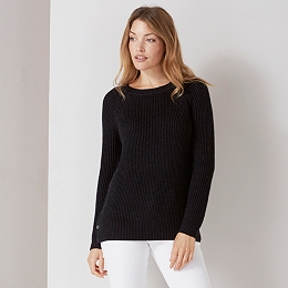 Crew Neck Button Side Sweater - Dark Charcoal Marl
