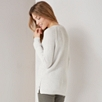 Crew Neck Button Side Sweater - Cloud Marl