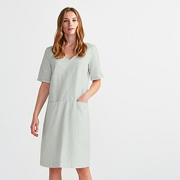 Linen Blend V Neck Dress - Sea Green
