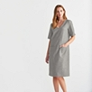 Linen-Cotton V-Neck Dress - Gray