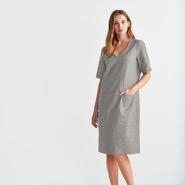 Linen Blend V Neck Dress - Gray