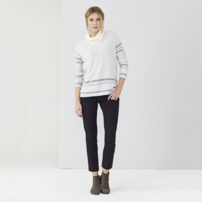 V-Neck Stripe Detail Sweater