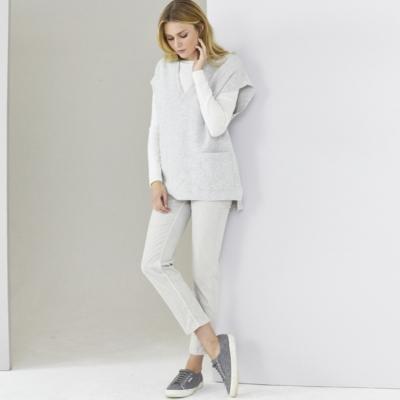 V Neck Oversized Sleeveless Sweater - Pale Gray Marl