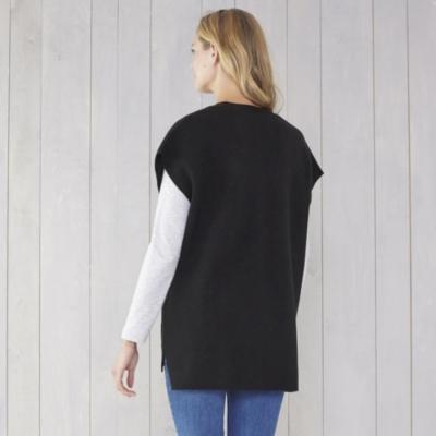 V Neck Oversized Sleeveless Sweater - Black