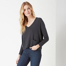 V Neck Pocket Sweater - Pewter