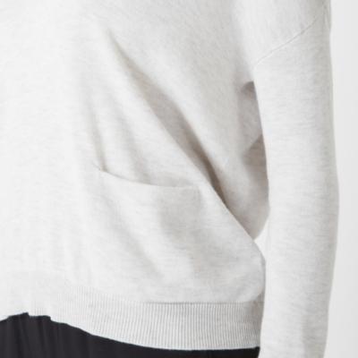 V Neck Pocket Sweater - Cloud Marl