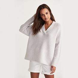 V-Neck Horizontal Rib Sweater