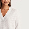 V-Neck Horizontal Rib Sweater