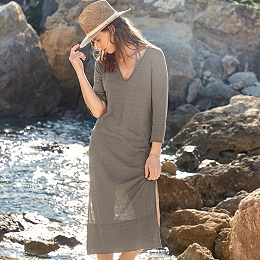 Linen-Rich V-Neck Dress