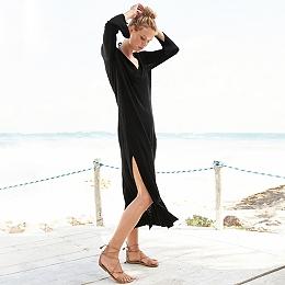 Linen Blend V Neck Dress
