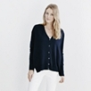 V-Neck Side Split Cardigan - Navy