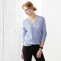 V-Neck Textured Jumper - Blue