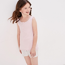 Vest & Foil Heart Pyjama Short Set (5-12yrs)